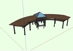 现代风格详细的长廊亭设计SU(草图大师)模型