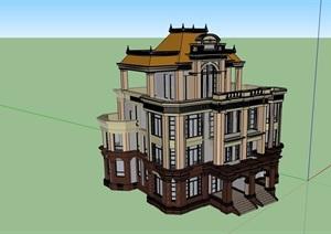 法式风格多层详细的住宅别墅建筑SU(草图大师)模型
