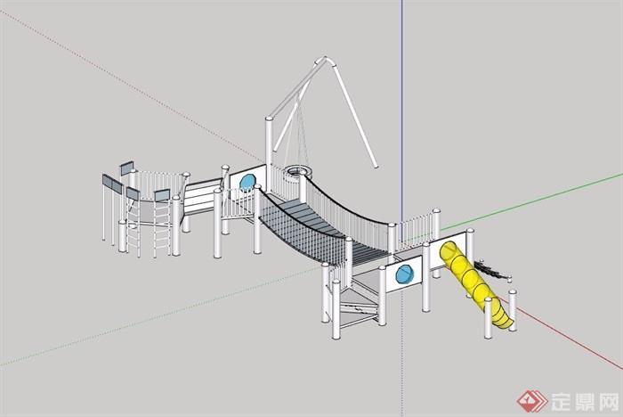 园林景观详细的游乐设施素材设计su模型