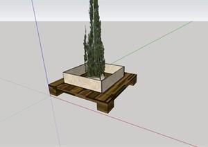 园林景观详细的种植池坐凳设计SU(草图大师)模型