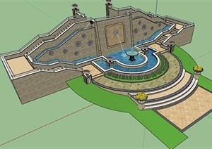 欧式风格园林景观喷泉水池景墙设计SU(草图大师)模型