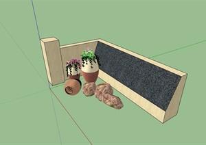 园林景观小品矮墙素材设计SU(草图大师)模型