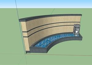 园林景观详细的水池景墙SU(草图大师)模型