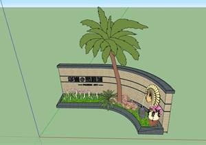 园林景观详细的种植池景墙SU(草图大师)模型