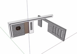 中式详细完整景观墙设计SU(草图大师)模型