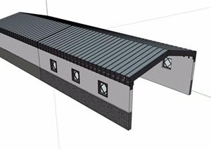 中式风格车库入口廊设计SU(草图大师)模型