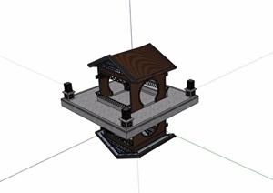 中式风格详细经典的亭子SU(草图大师)模型