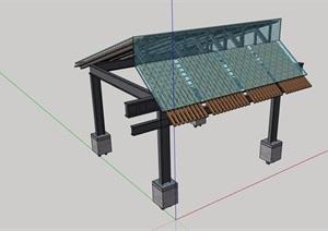 中式风格详细完整的玻璃亭子素材设计SU(草图大师)模型