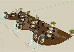 现代木栈道平台设计SU(草图大师)模型