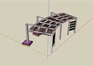现代简约详细的廊架素材设计SU(草图大师)模型