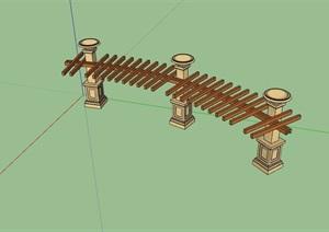 园林景观详细的休闲廊架素材SU(草图大师)模型