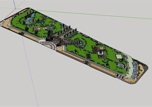 某公园详细完整景观设计SU(草图大师)模型