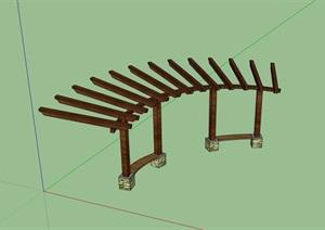 木质廊架详细素材设计SU(草图大师)模型