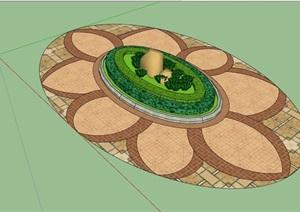 现代椭圆形种植花池设计SU(草图大师)模型