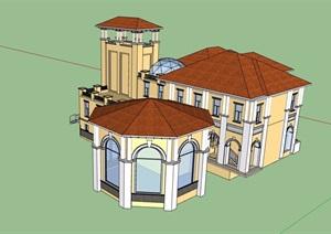 欧式风格详细的经典别墅设计SU(草图大师)模型