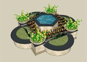 独特详细完整的种植花池设计SU(草图大师)模型