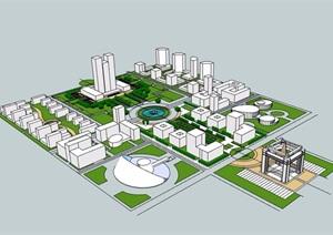 某办公环境规划SU(草图大师)模型