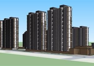 高层住宅详细的小区楼设计SU(草图大师)模型