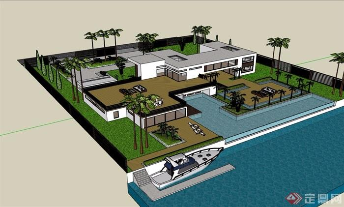 某私人住宅详细的别墅设计su模型含庭院
