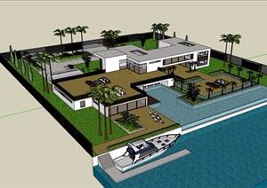 某私人住宅详细的别墅设计SU(草图大师)模型含庭院