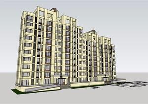 现代风格小高层详细的居住楼SU(草图大师)模型