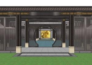 新中式廊架山水景墙水景
