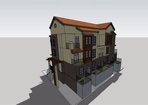 欧式详细的双拼住宅别墅设计SU(草图大师)模型