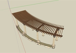 欧式风格详细的廊架素材SU(草图大师)模型