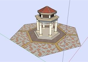 欧式风格重叠凉亭设计SU(草图大师)模型