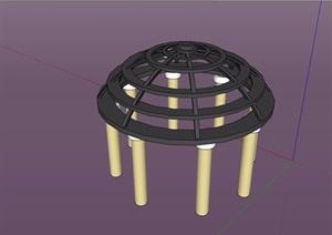 某欧式风格圆形凉亭设计SU(草图大师)模型