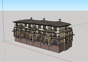 欧式风格详细的小区多层别墅设计SU(草图大师)模型