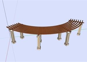 详细的现代休闲廊架素材设计SU(草图大师)模型