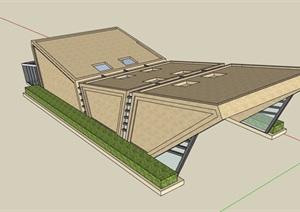 现代详细的独特车库入口廊设计SU(草图大师)模型