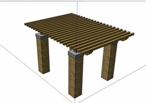 现代风格砖砌柱子廊架素材设计SU(草图大师)模型