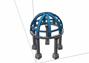 欧式风格圆形空架凉亭SU(草图大师)模型