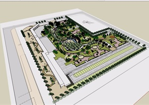 某住宅小区中庭完整景观设计SU(草图大师)模型