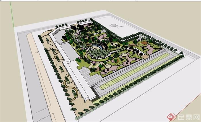 某住宅小区中庭完整景观设计su模型