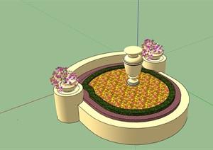 矮墙种植花池设计SU(草图大师)模型