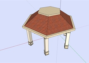欧式多边形凉亭设计SU(草图大师)模型