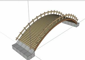 现代园林景观防腐木拱桥设计SU(草图大师)模型