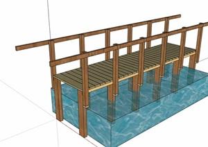 园林景观过河木桥设计SU(草图大师)模型