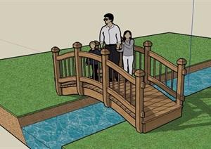 全防腐木质木桥设计SU(草图大师)模型