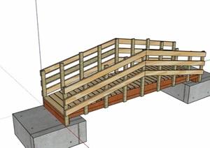 现代园林景观过河木桥设计SU(草图大师)模型
