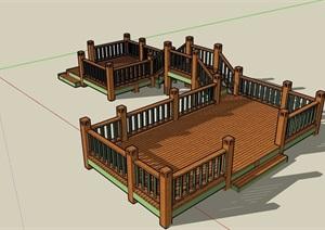 园林景观木桥及栏杆素材设计SU(草图大师)模型
