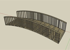 现代风格园桥木桥设计SU(草图大师)模型