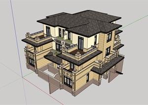 欧式风格详细的经典住宅小区别墅设计SU(草图大师)模型
