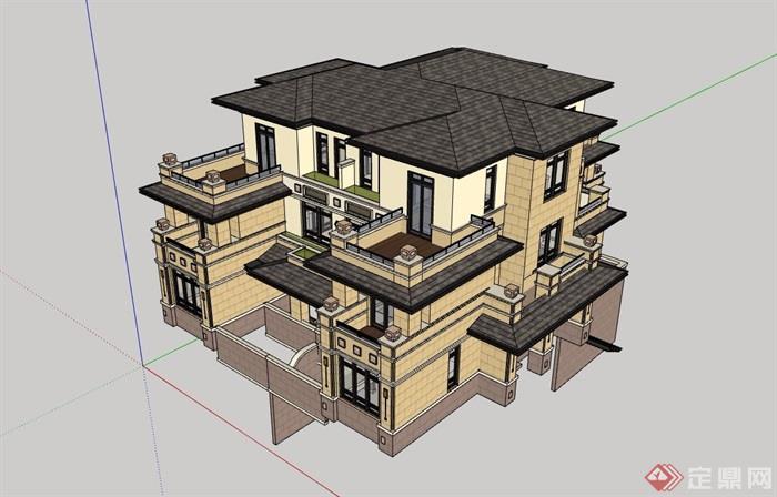 欧式风格详细的经典住宅小区别墅设计su模型