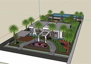 现代两层详细的别墅设计SU(草图大师)模型含庭院