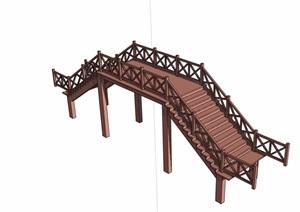 中式风格详细的过河桥素材设计SU(草图大师)模型