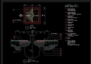 方形详细的树池及坐凳设计cad施工图